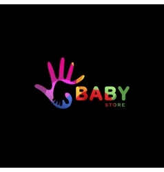 Isolated abstract colorful baby foot in adult hand vector