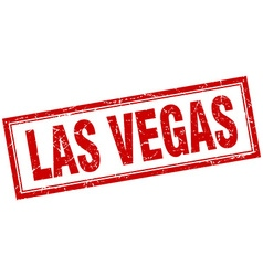 Las vegas red square grunge stamp on white vector