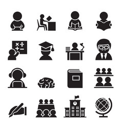 learning icon set vector image