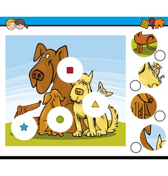 Match the pieces task with dogs vector