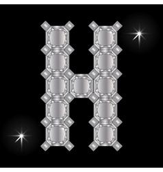 Metal letter h gemstone geometric shapes vector