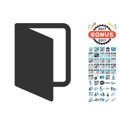 Open door icon with 2017 year bonus pictograms vector