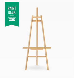 paint desk wooden easel with empty white vector image vector image