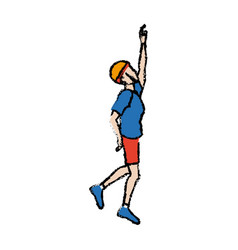 Portrait of young man climbing gesture vector