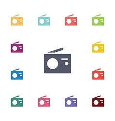 radio flat icons set vector image