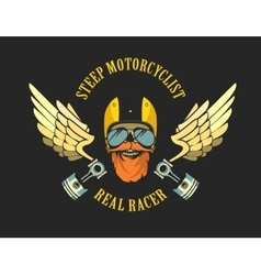 Retro emblem motorcyclist vector