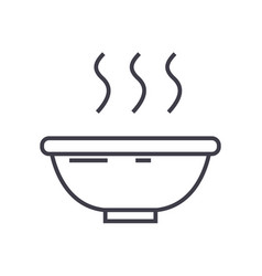 soup bowl line icon sign on vector image