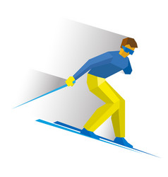 sportsman with disabilities ski slope down vector image vector image