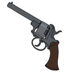 Vintage six bullets revolver vector