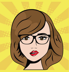 Woman wearing glasses pop art comic vector