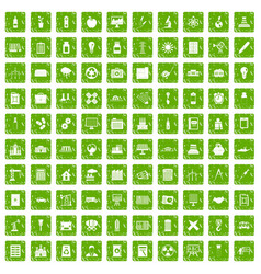100 company icons set grunge green vector