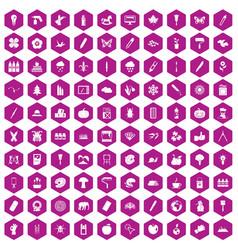 100 eco design icons hexagon violet vector