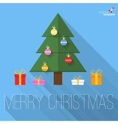 Christmas tree flat design greeting card vector image
