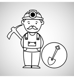 Mine worker pickaxe with shovel vector