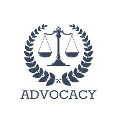 Advocacy icon justice scales laurel wreath vector