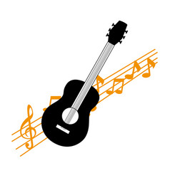 Acoustic guitar with musical notes vector