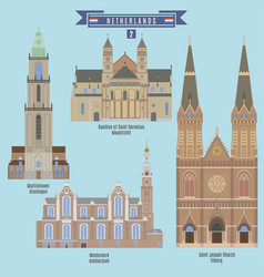 Famous places in netherlands vector