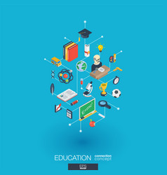 Education integrated 3d web icons digital network vector