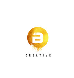 b gold letter logo design with round circular vector image