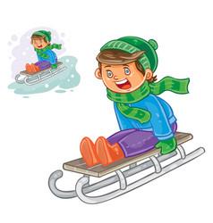 winter of small boy sledding vector image