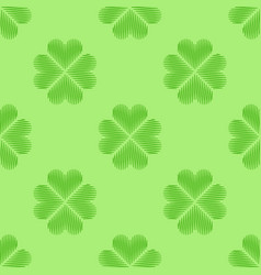 Clover leaf embroidery floral background green vector