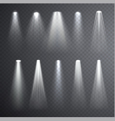 Bright white light beam glowing light effects vector