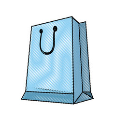 Blue paper shopping bag with handles vector