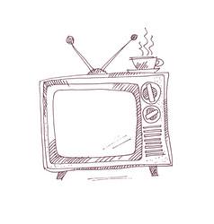 Vintage tv set in sketch graphic style vector