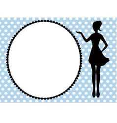 Woman silhouette and frame vector