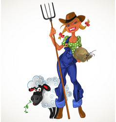 Sexy farm girl with agricultural implements and vector