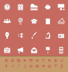 School color icons on brown background vector