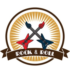Rock and roll emblem vector