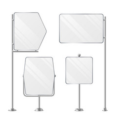 3d blank boards on poles for placing price and vector