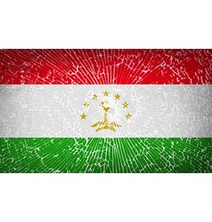 Flags tajikistan with broken glass texture vector
