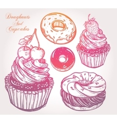 Donuts and cupcakes set vector