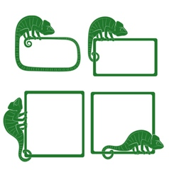 Set of icons with green chameleon isolated object vector