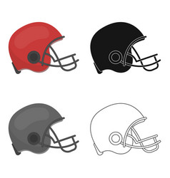 American football helmet icon in cartoon style vector