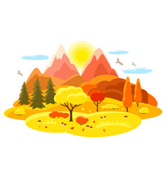 autumn landscape with trees mountains and hills vector image