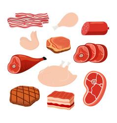 bacon chicken smoked ham cartoon style vector image