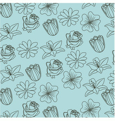 beauty pattern flowers natural vector image vector image