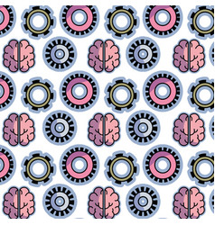 Color gear and brain teamwork progress background vector