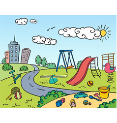 Colored children playground bright concept vector