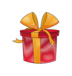 Drawing red gift box wrapped ribbon bow decoration vector