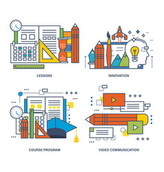 Education communications video innovation vector