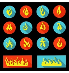 Flame icon set - vector