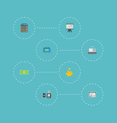 Flat icons remote paying computer till and other vector