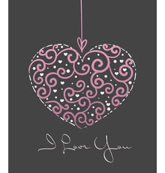greeting card with heart vector image vector image