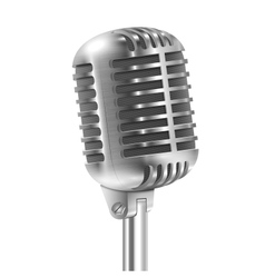 Isolated On White Metallic Retro Microphone vector image vector image