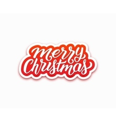 Merry Christmas greetings text on paper label vector image vector image