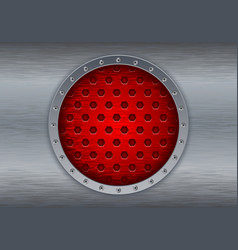Metal brushed background with red perforated vector